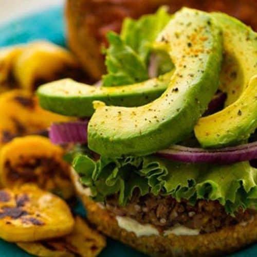 plaintain black bean veggie burger